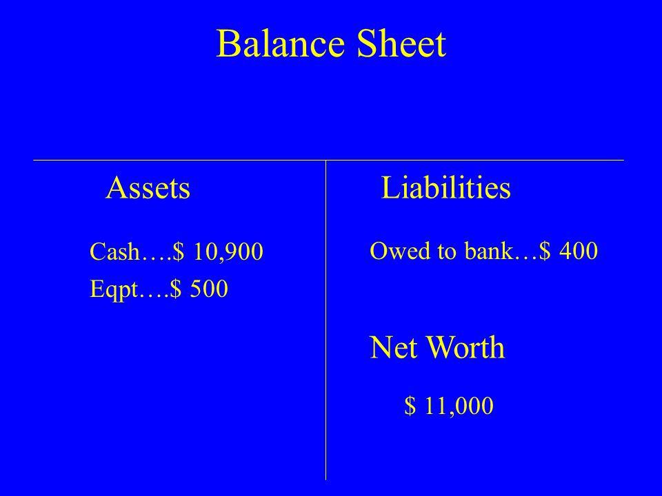 Balance Sheet AssetsLiabilities Net Worth $ 11,000 Cash….$ 10,900 Eqpt….$ 500 Owed to bank…$ 400
