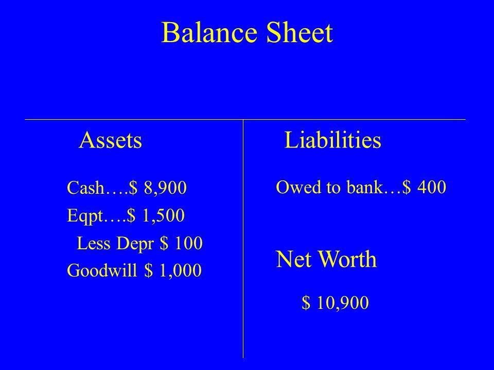Balance Sheet AssetsLiabilities Net Worth $ 10,900 Cash….$ 8,900 Eqpt….$ 1,500 Less Depr $ 100 Goodwill $ 1,000 Owed to bank…$ 400