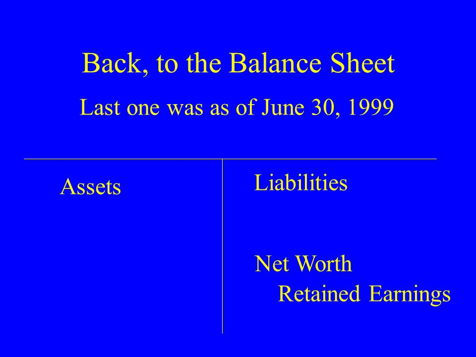 Back, to the Balance Sheet Last one was as of June 30, 1999 Assets Liabilities Net Worth Retained Earnings