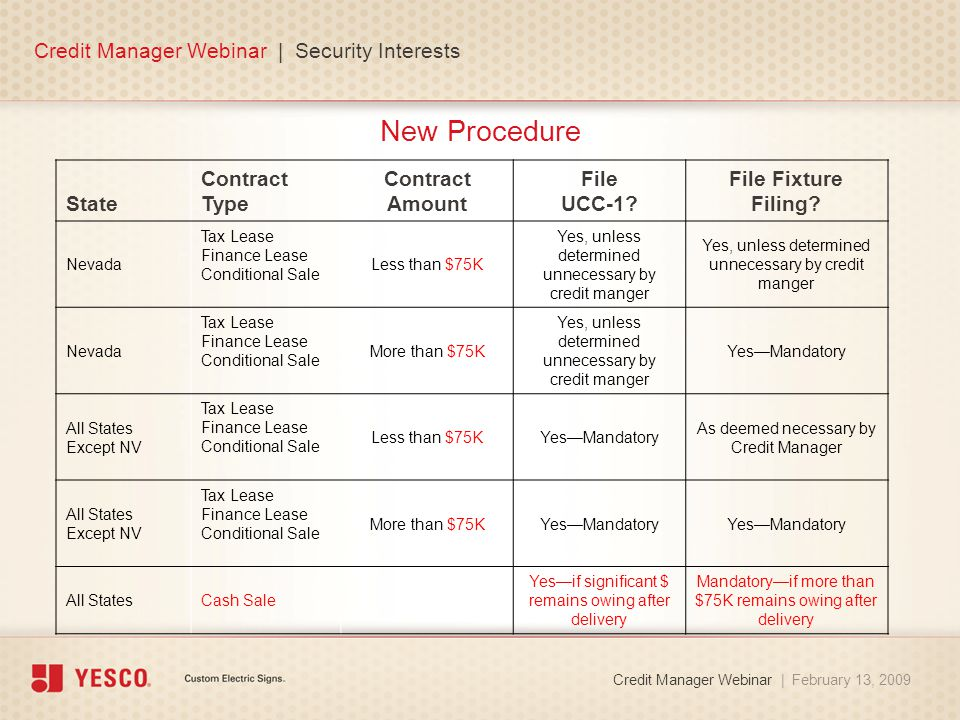New Procedure Credit Manager Webinar | Security Interests Credit Manager Webinar | February 13, 2009 State Contract Type Contract Amount File UCC-1.