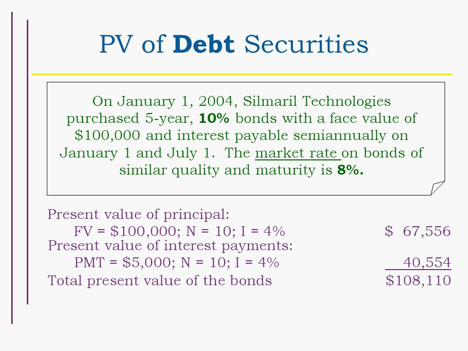 PV of Debt Securities On January 1, 2004, Silmaril Technologies purchased 5-year, 10% bonds with a face value of $100,000 and interest payable semiannually on January 1 and July 1.