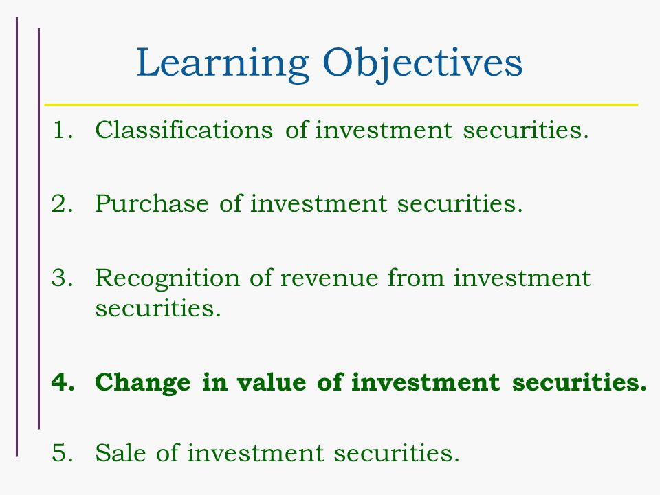 Learning Objectives 1.Classifications of investment securities.
