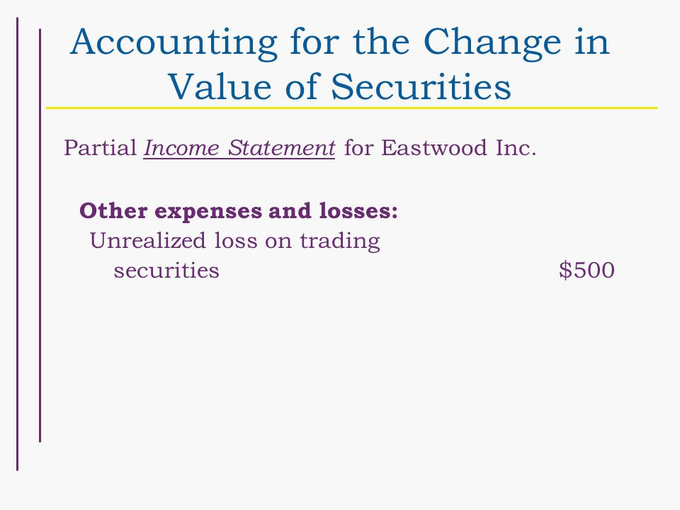 Accounting for the Change in Value of Securities Partial Income Statement for Eastwood Inc.