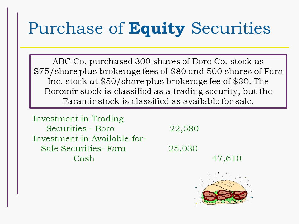 Purchase of Equity Securities ABC Co. purchased 300 shares of Boro Co.