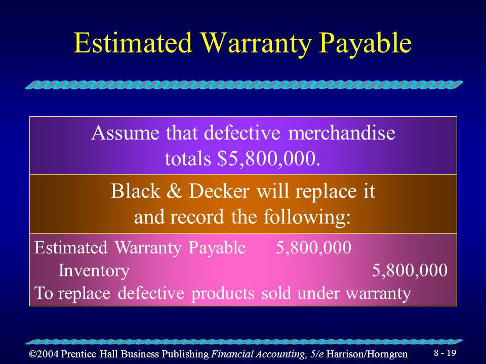 ©2004 Prentice Hall Business Publishing Financial Accounting, 5/e Harrison/Horngren 8 - 18 Estimated Warranty Payable $200,000,000 ×.03 = $6,000,000 W