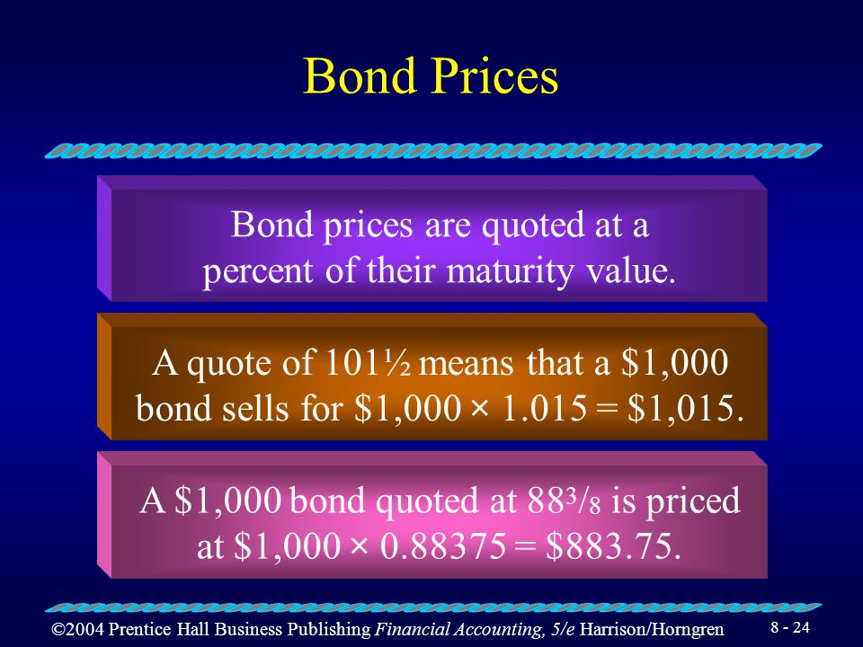 ©2004 Prentice Hall Business Publishing Financial Accounting, 5/e Harrison/Horngren 8 - 23 Types of Bonds Term bonds Serial bonds Secured, or mortgage