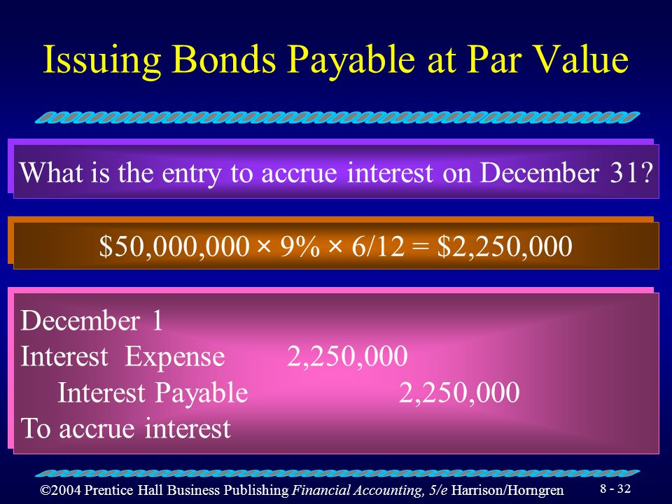 ©2004 Prentice Hall Business Publishing Financial Accounting, 5/e Harrison/Horngren 8 - 31 Issuing Bonds Payable at Par Value What is the entry for the interest payment of July 1.