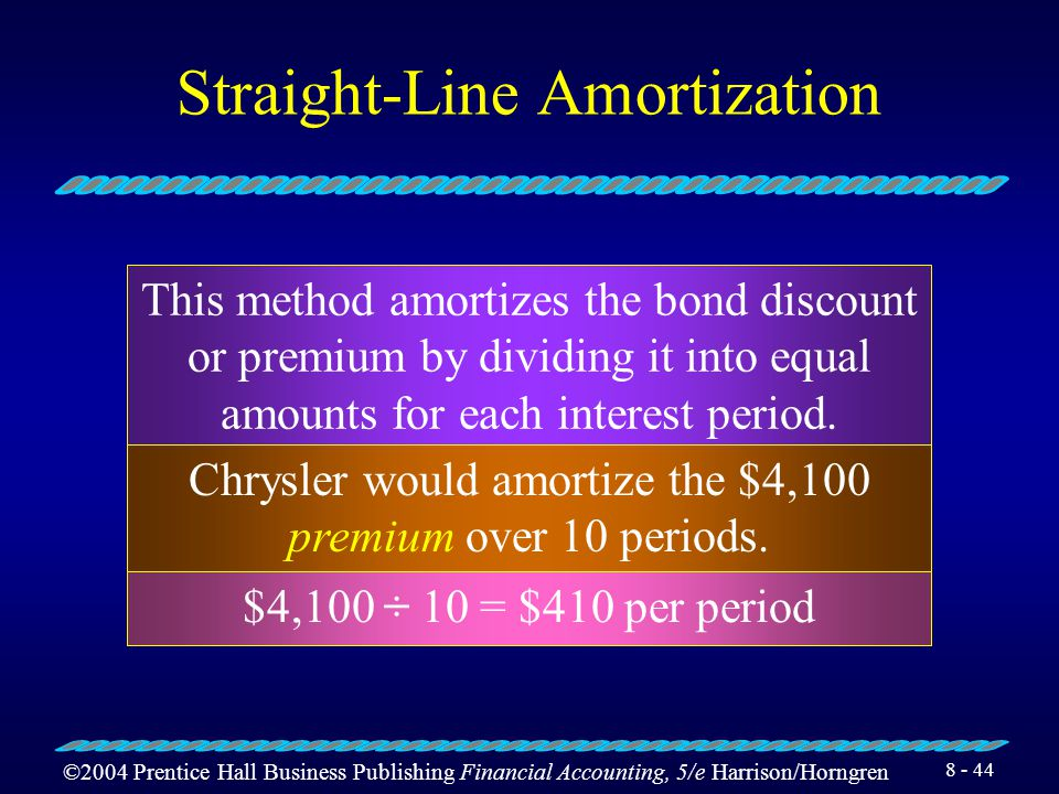 ©2004 Prentice Hall Business Publishing Financial Accounting, 5/e Harrison/Horngren 8 - 43 Interest Expense on Bonds Issued at a Premium On July 1, 2004, Chrysler makes the first $4,500 semiannual interest payment and also amortizes (decreases) the bond premium.