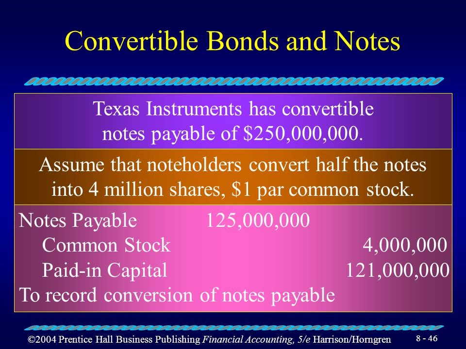 ©2004 Prentice Hall Business Publishing Financial Accounting, 5/e Harrison/Horngren 8 - 45 Early Retirement of Bonds Payable Air Products and Chemicals, Inc., has $70 million of debenture bonds outstanding with unamortized discount of $350,000.
