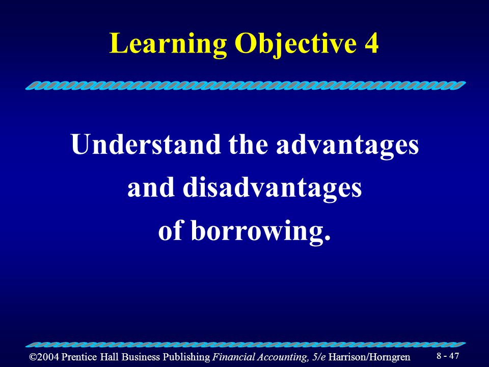 ©2004 Prentice Hall Business Publishing Financial Accounting, 5/e Harrison/Horngren 8 - 46 Convertible Bonds and Notes Texas Instruments has convertible notes payable of $250,000,000.