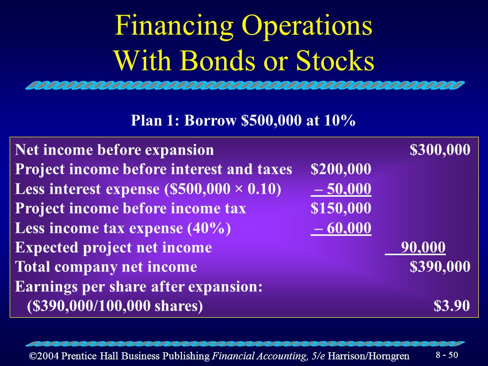 ©2004 Prentice Hall Business Publishing Financial Accounting, 5/e Harrison/Horngren 8 - 49 Financing Operations With Bonds or Stocks Suppose a corpora