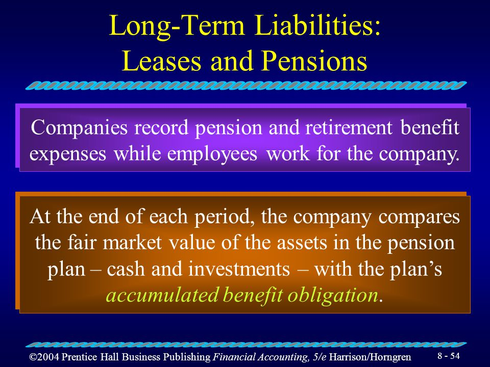 ©2004 Prentice Hall Business Publishing Financial Accounting, 5/e Harrison/Horngren 8 - 53 Long-Term Liabilities: Leases and Pensions It transfers tit