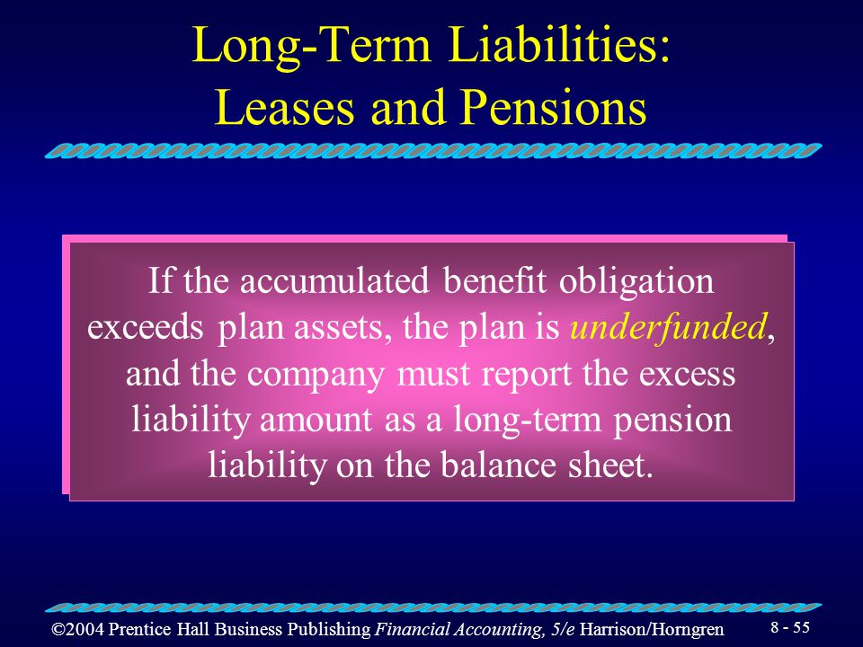 ©2004 Prentice Hall Business Publishing Financial Accounting, 5/e Harrison/Horngren 8 - 54 Long-Term Liabilities: Leases and Pensions Companies record