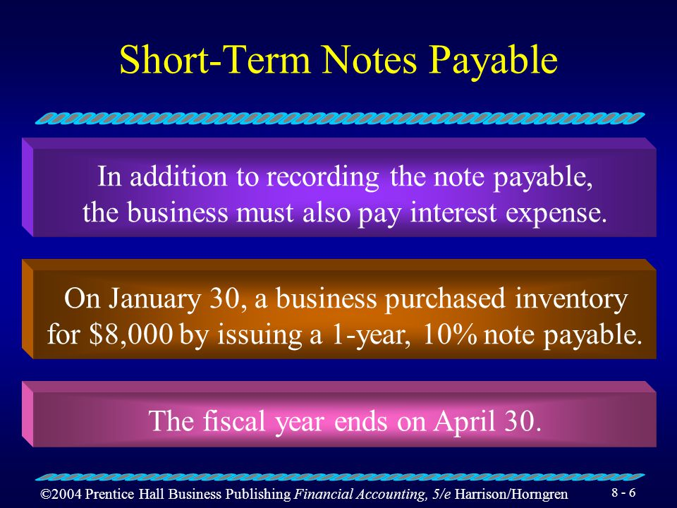 ©2004 Prentice Hall Business Publishing Financial Accounting, 5/e Harrison/Horngren 8 - 5 Current Liabilities Accounts payable are amounts owed to sup