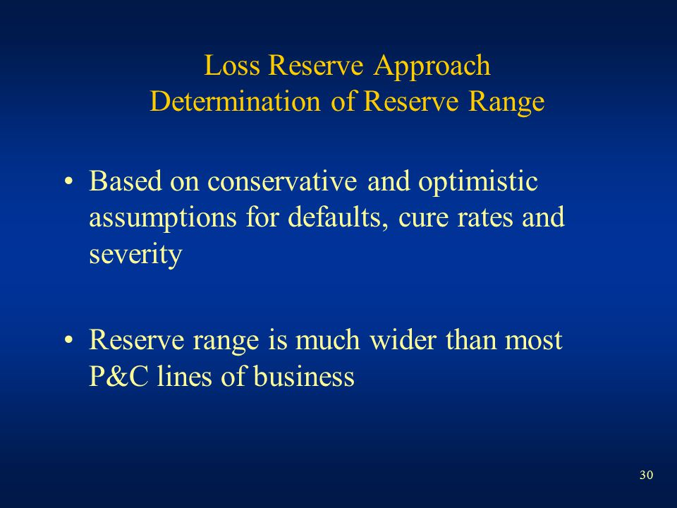 30 Loss Reserve Approach Determination of Reserve Range Based on conservative and optimistic assumptions for defaults, cure rates and severity Reserve