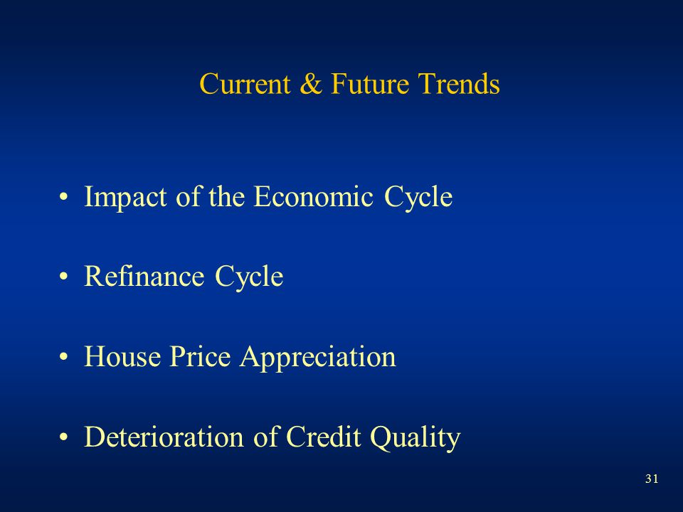 31 Current & Future Trends Impact of the Economic Cycle Refinance Cycle House Price Appreciation Deterioration of Credit Quality