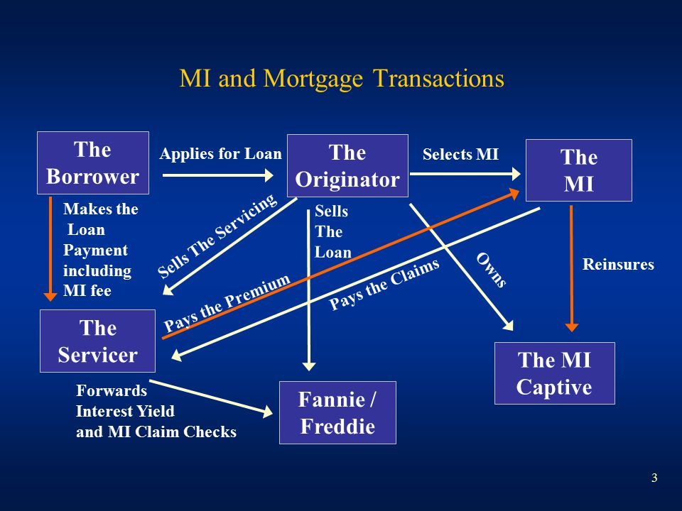 3 MI and Mortgage Transactions The Borrower Fannie / Freddie The Servicer The Originator The MI The MI Captive Applies for Loan Selects MI Sells The S