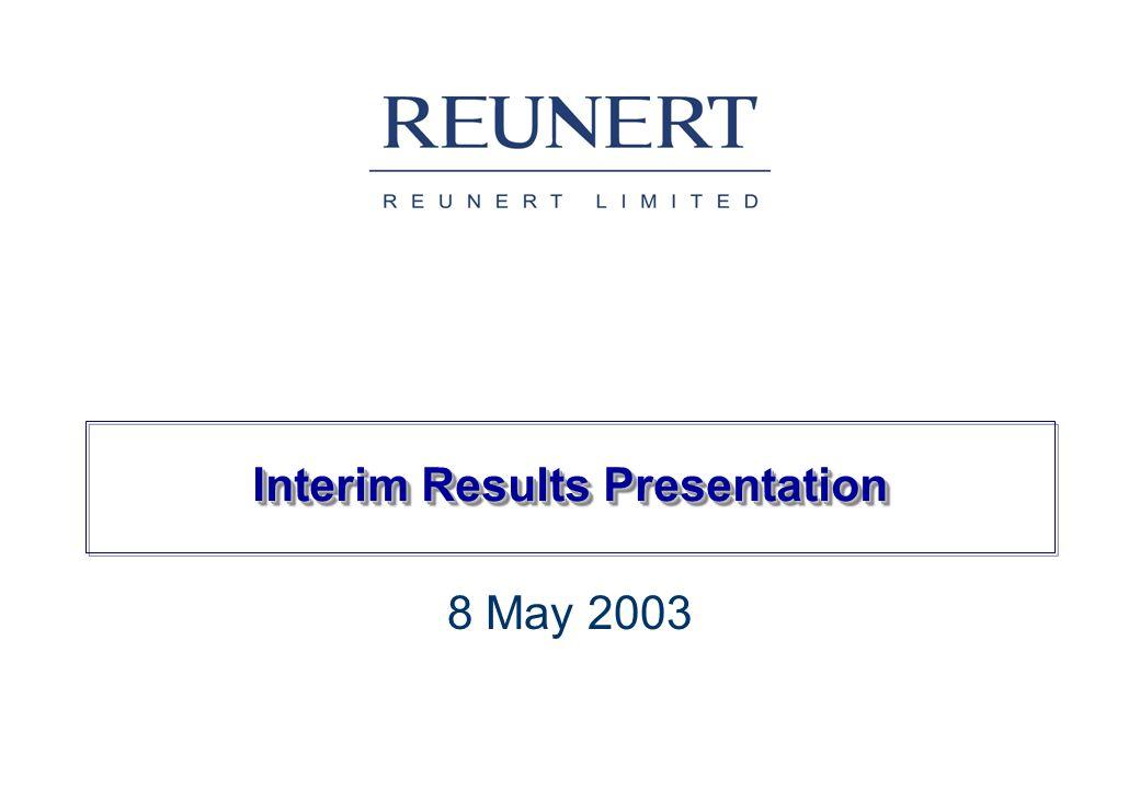 Interim Results Presentation 8 May 2003