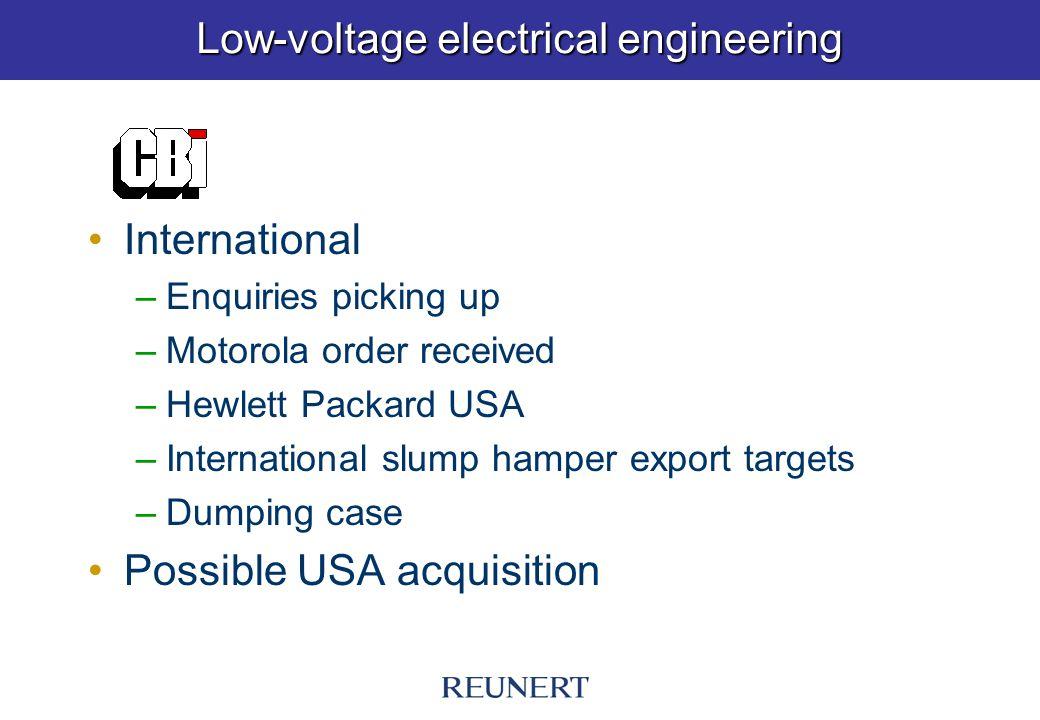 Low-voltage electrical engineering International –Enquiries picking up –Motorola order received –Hewlett Packard USA –International slump hamper export targets –Dumping case Possible USA acquisition