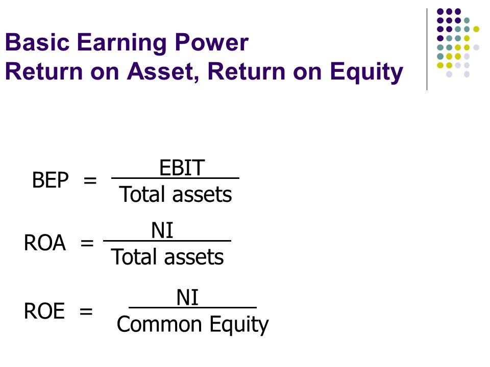 Basic Earning Power Return on Asset, Return on Equity BEP = EBIT Total assets ROA = NI Total assets ROE = NI Common Equity