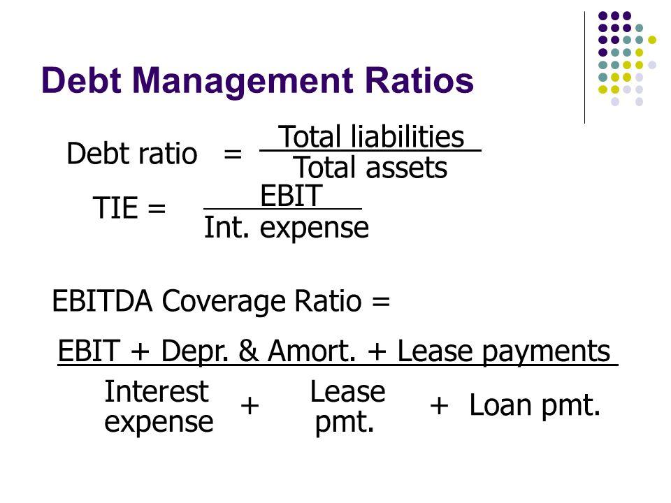 Debt Management Ratios Total liabilities Total assets Debt ratio= EBIT Int.