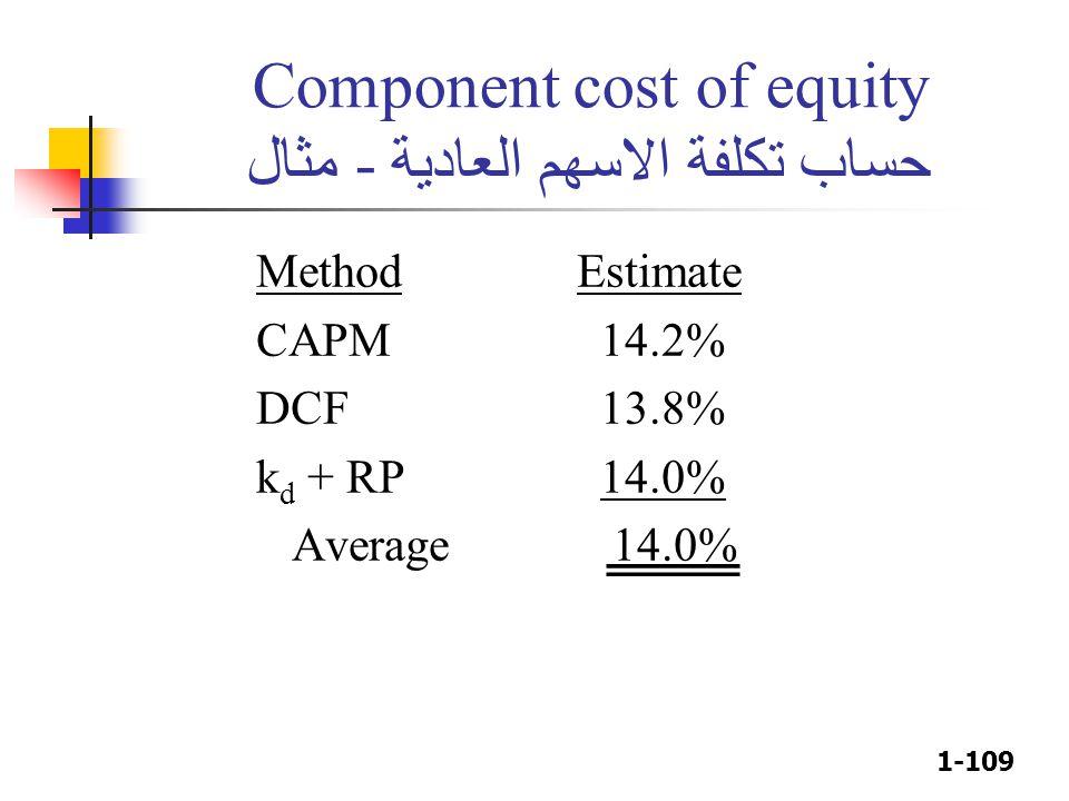 1-109 Component cost of equity حساب تكلفة الاسهم العادية - مثال MethodEstimate CAPM 14.2% DCF 13.8% k d + RP 14.0% Average 14.0%