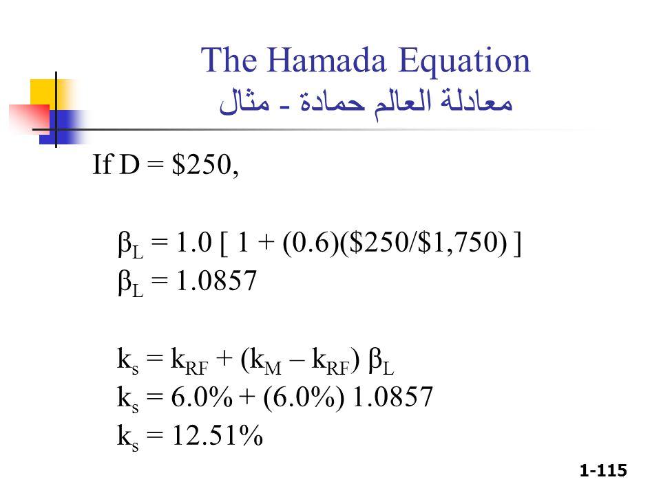 1-115 The Hamada Equation معادلة العالم حمادة - مثال If D = $250, β L = 1.0 [ 1 + (0.6)($250/$1,750) ] β L = 1.0857 k s = k RF + (k M – k RF ) β L k s