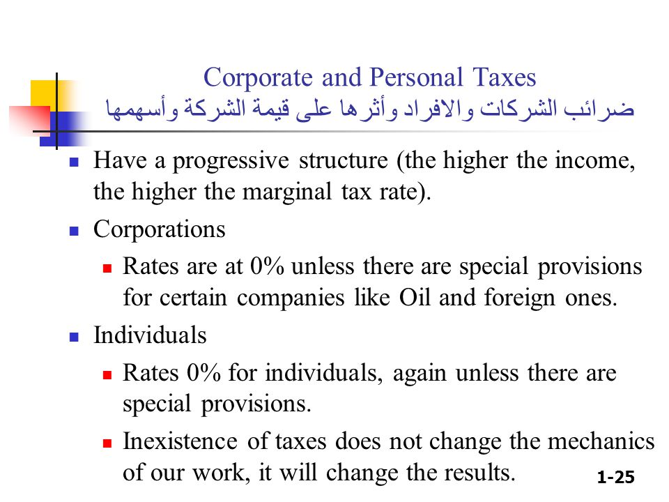 1-25 Corporate and Personal Taxes ضرائب الشركات والافراد وأثرها على قيمة الشركة وأسهمها Have a progressive structure (the higher the income, the highe