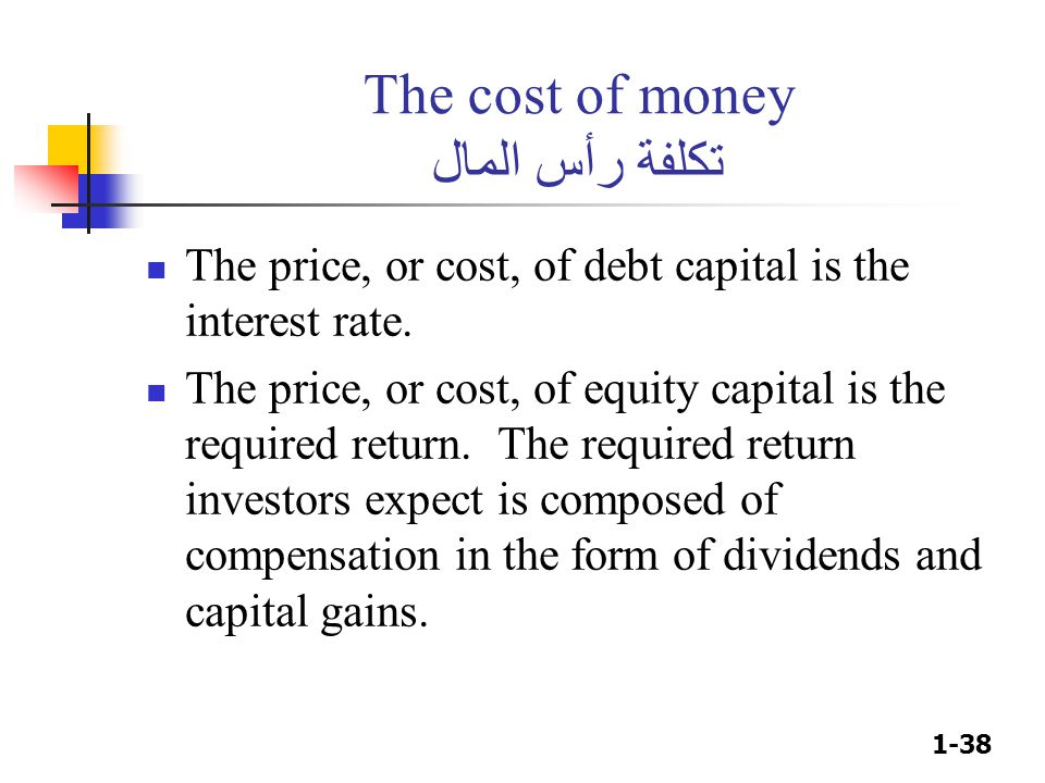 1-38 The cost of money تكلفة رأس المال The price, or cost, of debt capital is the interest rate.
