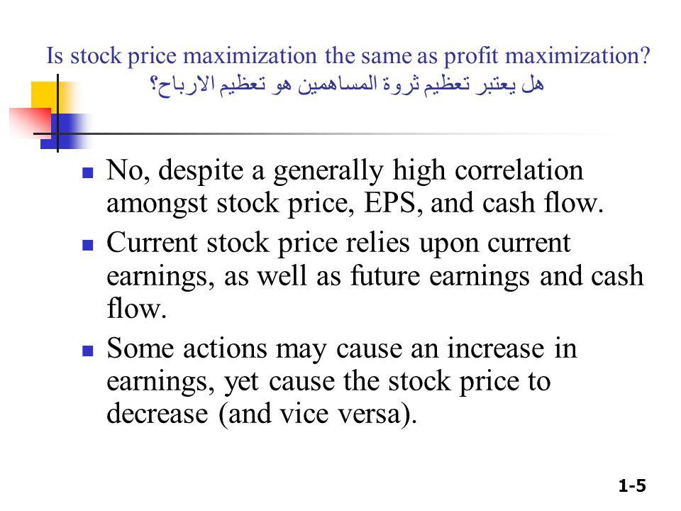 1-5 Is stock price maximization the same as profit maximization? هل يعتبر تعظيم ثروة المساهمين هو تعظيم الارباح؟ No, despite a generally high correlat