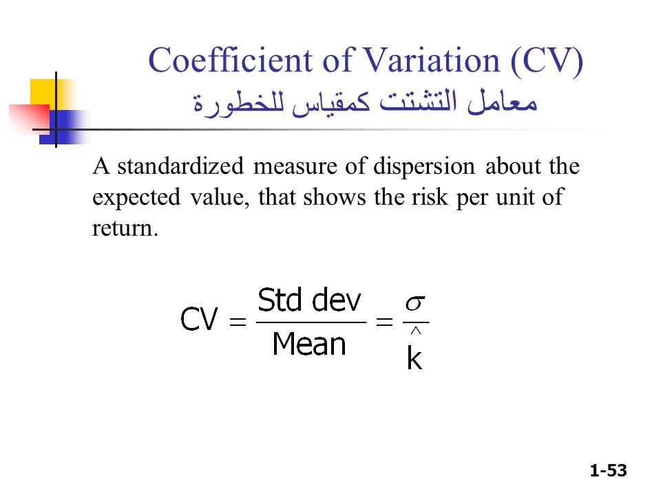 1-53 Coefficient of Variation (CV) معامل التشتت كمقياس للخطورة A standardized measure of dispersion about the expected value, that shows the risk per