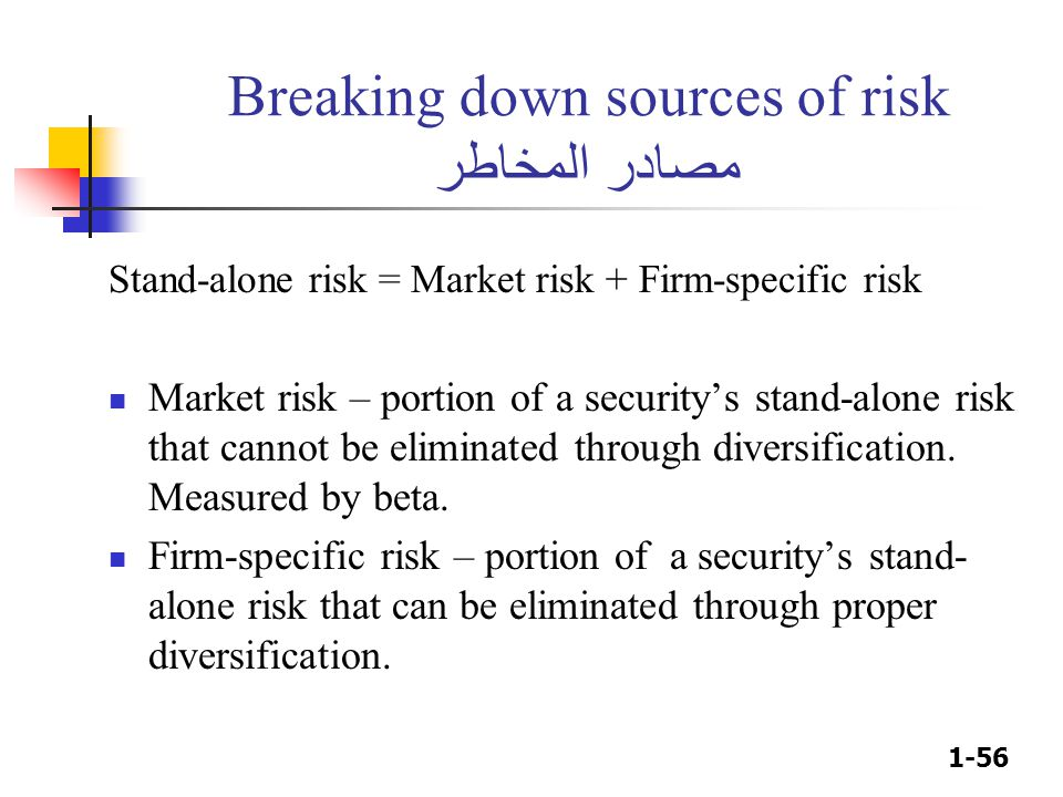 1-56 Breaking down sources of risk مصادر المخاطر Stand-alone risk = Market risk + Firm-specific risk Market risk – portion of a security's stand-alone