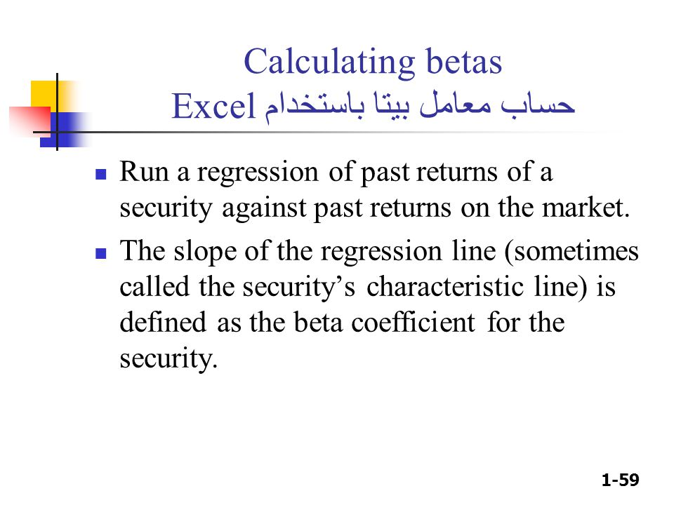 1-59 Calculating betas حساب معامل بيتا باستخدام Excel Run a regression of past returns of a security against past returns on the market. The slope of