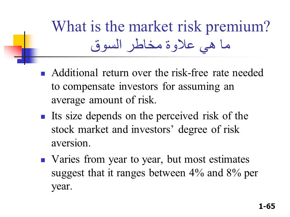 1-65 What is the market risk premium? ما هي علاوة مخاطر السوق Additional return over the risk-free rate needed to compensate investors for assuming an