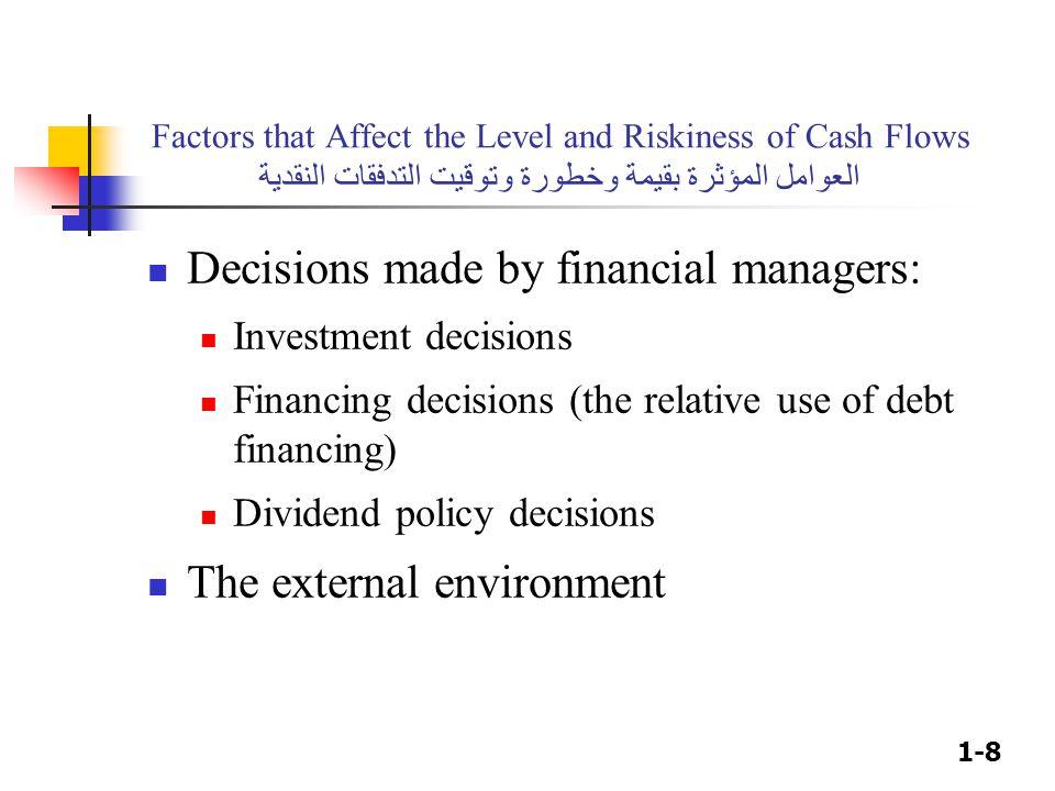 1-8 Factors that Affect the Level and Riskiness of Cash Flows العوامل المؤثرة بقيمة وخطورة وتوقيت التدفقات النقدية Decisions made by financial manager