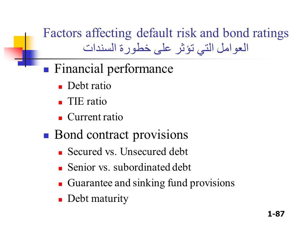 1-87 Factors affecting default risk and bond ratings العوامل التي تؤثر على خطورة السندات Financial performance Debt ratio TIE ratio Current ratio Bond