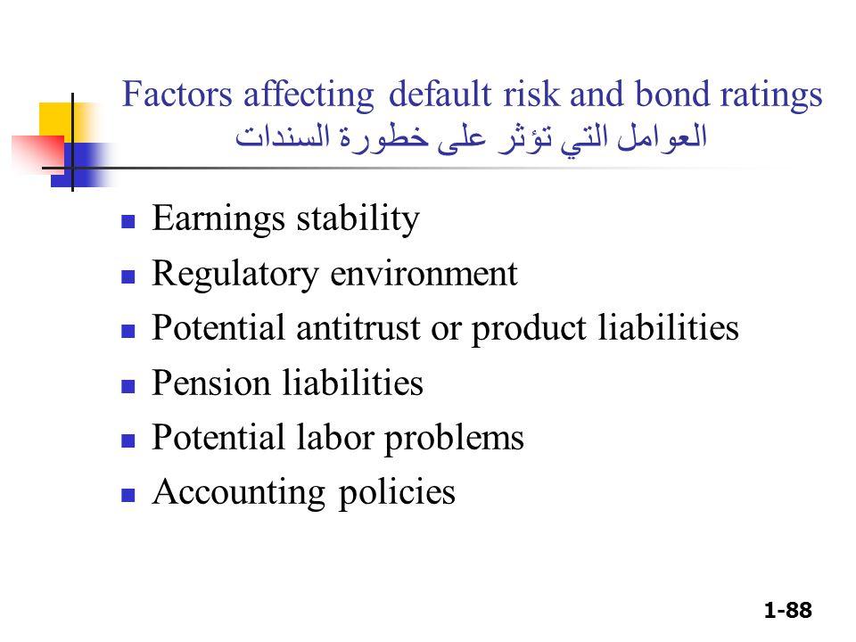 1-88 Factors affecting default risk and bond ratings العوامل التي تؤثر على خطورة السندات Earnings stability Regulatory environment Potential antitrust