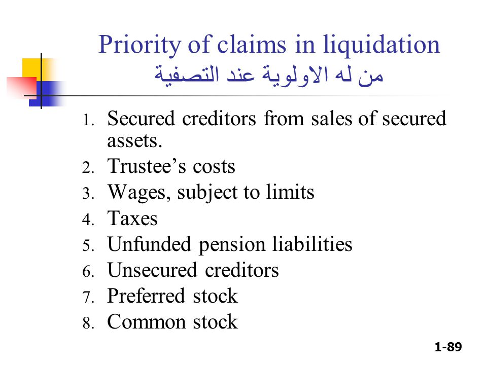 1-89 Priority of claims in liquidation من له الاولوية عند التصفية 1. Secured creditors from sales of secured assets. 2. Trustee's costs 3. Wages, subj