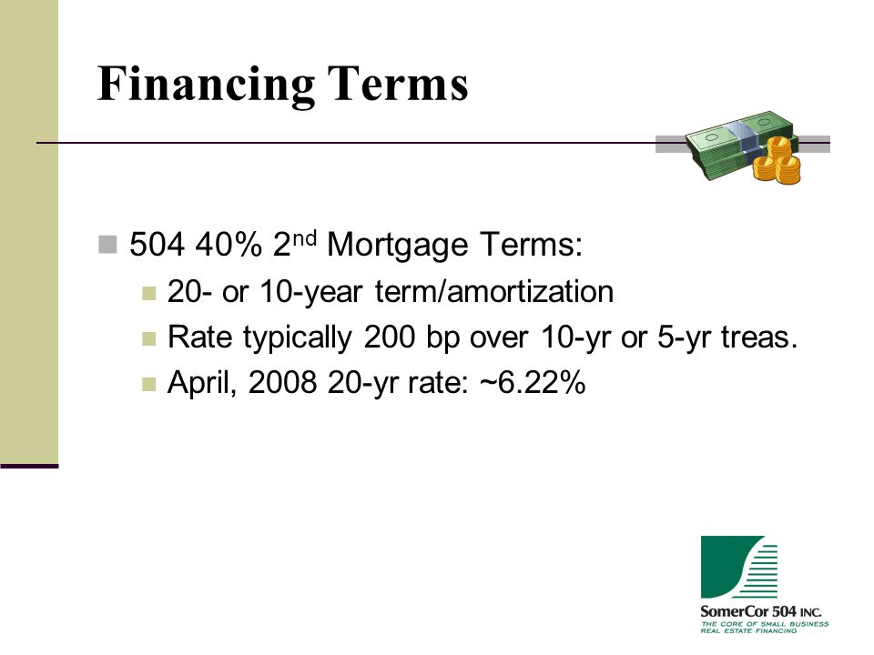 Financing Terms 504 40% 2 nd Mortgage Terms: 20- or 10-year term/amortization Rate typically 200 bp over 10-yr or 5-yr treas.