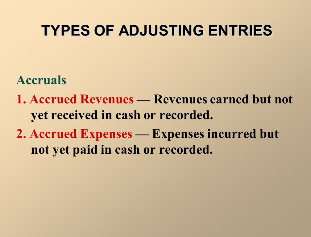 TYPES OF ADJUSTING ENTRIES Prepayments 1. Prepaid Expenses — Expenses paid in cash and recorded as assets before they are used or consumed. 2. Unearne