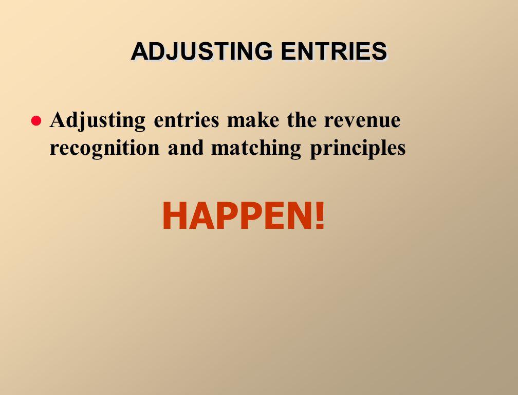 Adjusting entries make the revenue recognition and matching principles HAPPEN! ADJUSTING ENTRIES