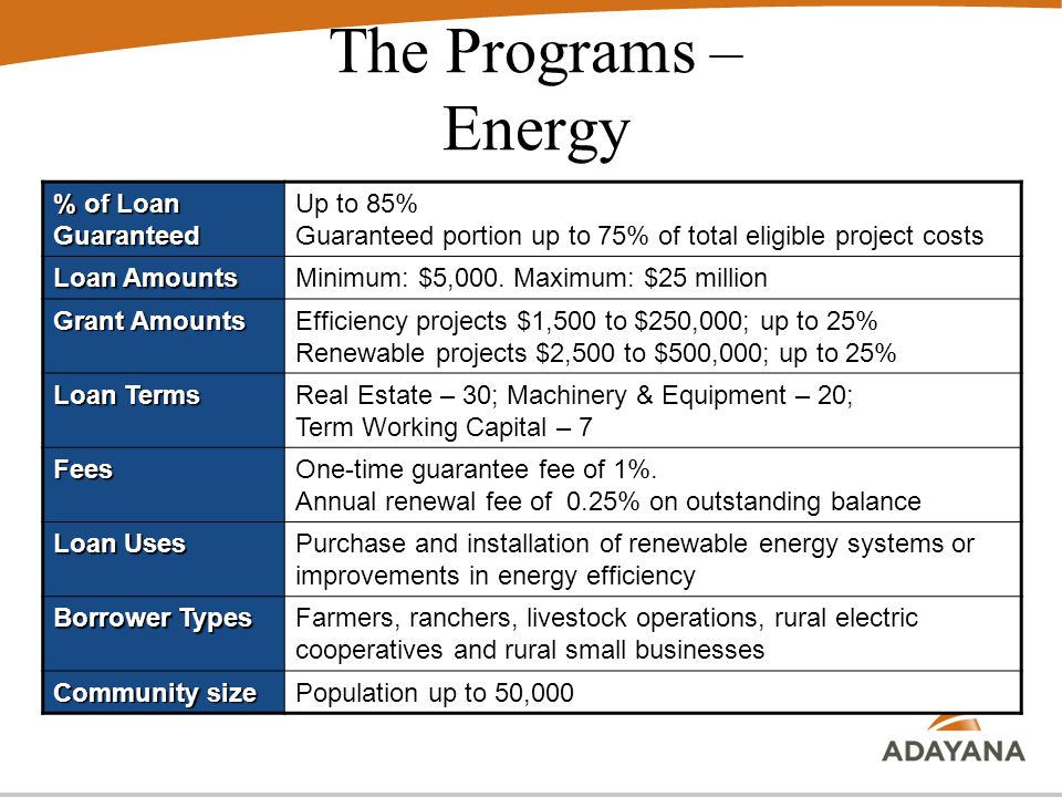 The Programs – Energy % of Loan Guaranteed Up to 85% Guaranteed portion up to 75% of total eligible project costs Loan Amounts Minimum: $5,000.