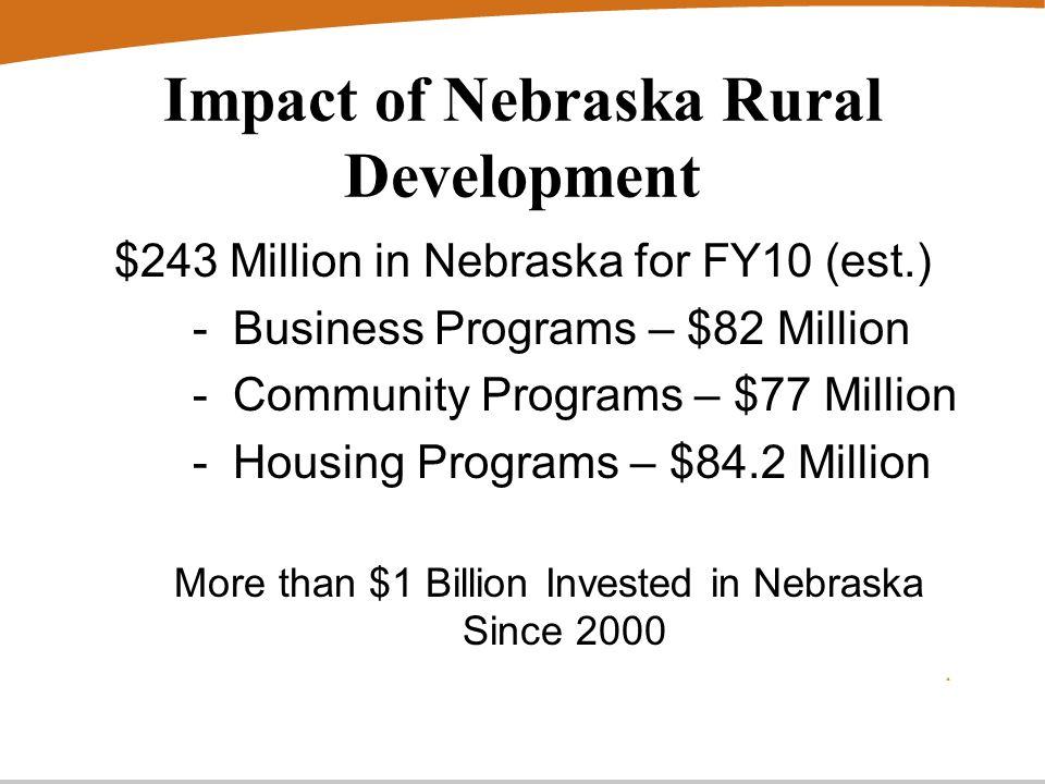 Impact of Nebraska Rural Development $243 Million in Nebraska for FY10 (est.) - Business Programs – $82 Million - Community Programs – $77 Million - Housing Programs – $84.2 Million More than $1 Billion Invested in Nebraska Since 2000
