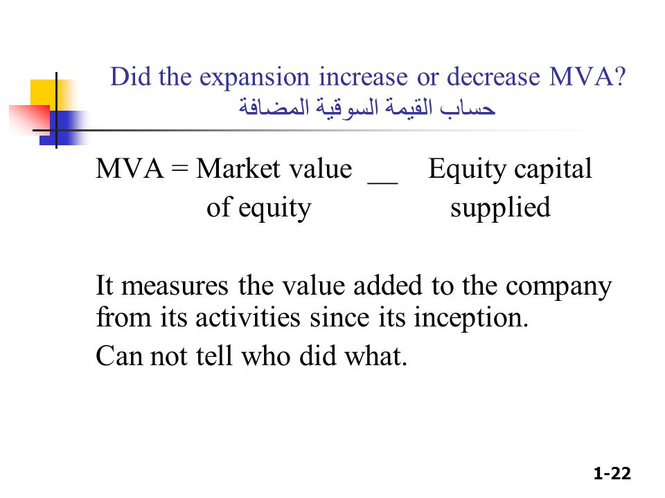 1-22 Did the expansion increase or decrease MVA? حساب القيمة السوقية المضافة MVA = Market value __Equity capital of equity supplied It measures the va
