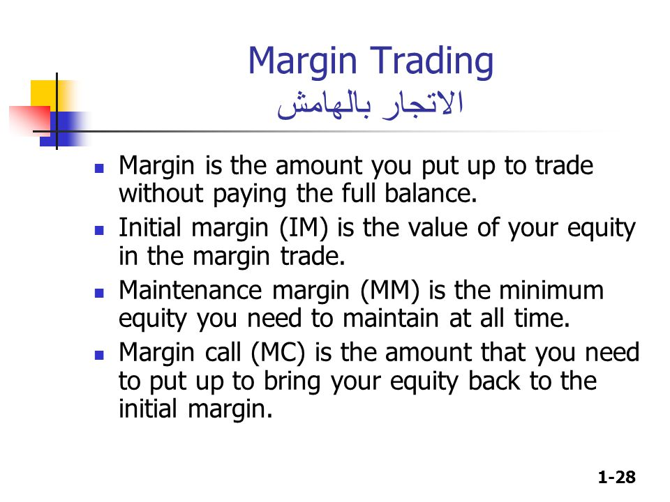 1-28 Margin is the amount you put up to trade without paying the full balance.