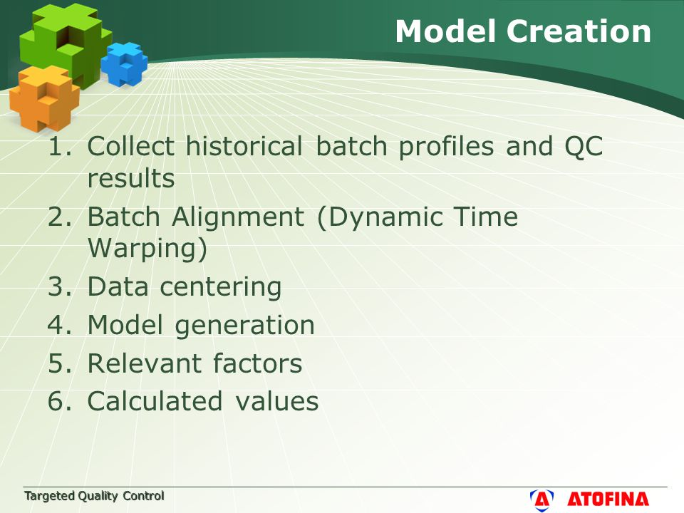 Targeted Quality Control Model Creation 1.Collect historical batch profiles and QC results 2.Batch Alignment (Dynamic Time Warping) 3.Data centering 4.Model generation 5.Relevant factors 6.Calculated values