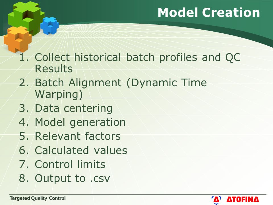 Targeted Quality Control Model Creation 1.Collect historical batch profiles and QC Results 2.Batch Alignment (Dynamic Time Warping) 3.Data centering 4.Model generation 5.Relevant factors 6.Calculated values 7.Control limits 8.Output to.csv