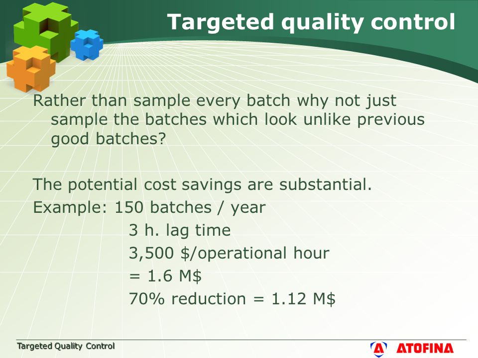Targeted Quality Control Targeted quality control Rather than sample every batch why not just sample the batches which look unlike previous good batches.