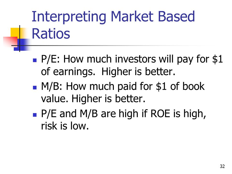 32 Interpreting Market Based Ratios P/E: How much investors will pay for $1 of earnings.