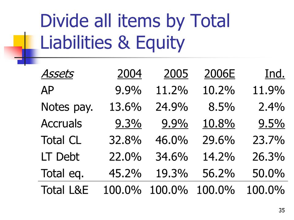 35 Divide all items by Total Liabilities & Equity Assets200420052006EInd.